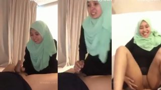 Green tudung malay blowjob with sex in hotel
